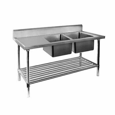 Sink, Right Double Bowl with Pot Shelf, Full Stainless Steel, 2400x700x900mm