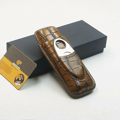 Cohiba 2Ct Crocodile Embossed Brown Leather Cigar Case Travel Holder w/Cutter