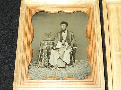 pa334 1872 Japanese Antique Photo : Man Sitting in Chair with Folding Fan /