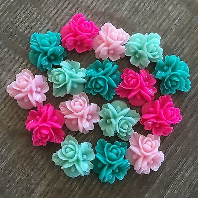 16x 16mm Teal Mint Pink Bouquet Flower Rose Cabochon Embellishments Flatback