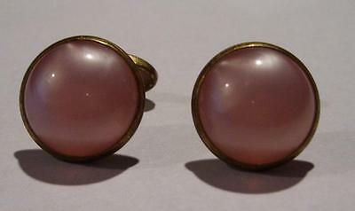 Vintage Pink Moonstone Gold Tone Cuff Links Buttons