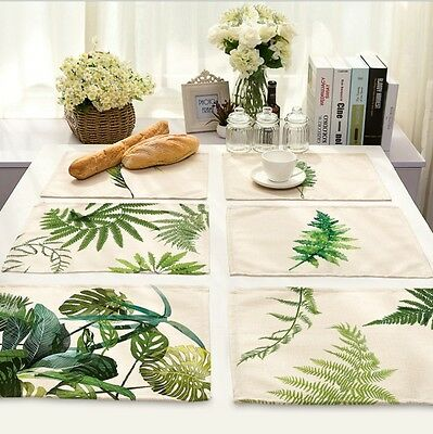 Green Leaves Insulation Bowl Placemats Dining Cotton Linen Pad Western Table Mat