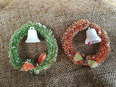 2 Vintage Mini Brush Tree Wreath Ornaments, Pink and Green with Celluloid Bells
