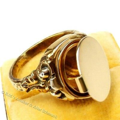 antiker Art Deco Ring Secret compartment Seal Medallion Men's Gold on silver