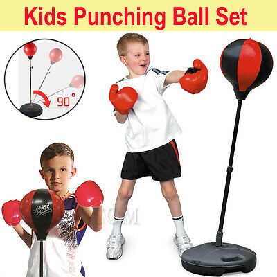 Kids Punching Ball Speedball Boxing Stand Set with Gloves Pump Adjustable Height