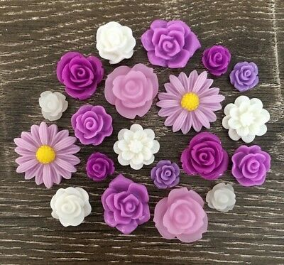20 Purple Cream White Flower Rose Daisy Resin Cabochon Flatback Embellishments