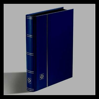 Lighthouse Basic Type Stockbook For Stamps 64 Black Pages, Blue Colour