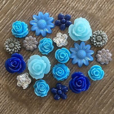 20 Blue Grey Silver Rose and Flower Resin Cabochon Flatback Embellishments Craft