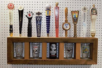 rustic salvage wood 10 beer tap handle and 5 pint glass wall display