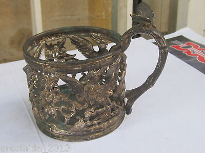ANTIQUE VERY RARE WMF GLASS HOLDER Silverplate 19th Century