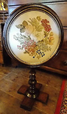 Antique Victorian table pole screen needlepoint tapestry tilt top table