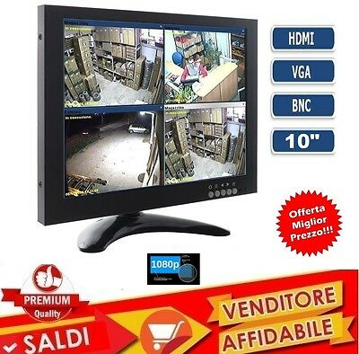 MONITOR 10,1 POLLICI 1080P COLORI LCD VGA HDMI BNC VIDEOSORVEGLIANZA video led