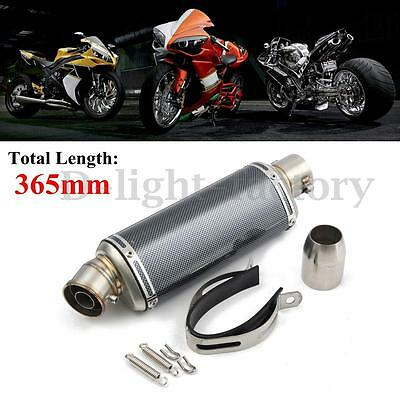 38-51mm Exhaust Muffler Pipe Carbon Fiber Motorcycle W/ Silencer Universal NEW
