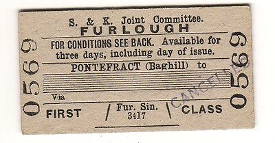 Railway ticket S&KJC 1st class Pontefract (Baghill)