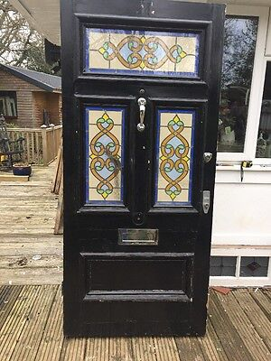 V Large Grand Victorian Stained Glass Front Door Reclaimed Old Period Antique.