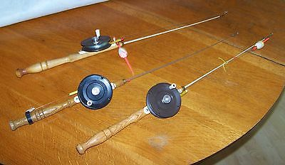 Lot of 3 Fiberglas Ice Fishing Rods with Plastic Reels, Ready to Use, 1970s-80s