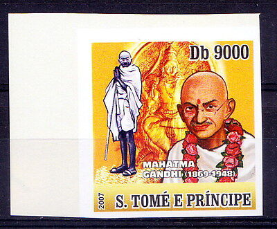 S TOme MNH Imperf, Gandhi, India, Garland, Sculpture, Goddess
