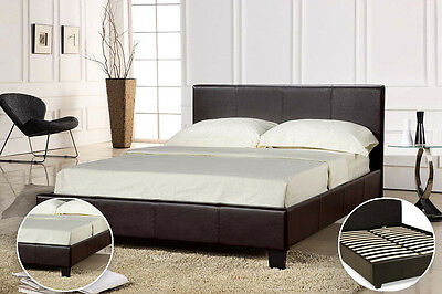 Faux Brown Leather Bed Frame Double King Size With Slats Bedroom Headboard Beds