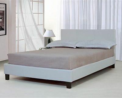 Faux White Faux Leather Bed Frame Double King Size Slats Bedroom Headboard Beds