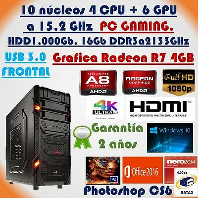 Ordenador para juegos, PC Gaming, Quad Core 15,2GHz, Gráfica4Gb,1TB,Ram16Gb,HDMI