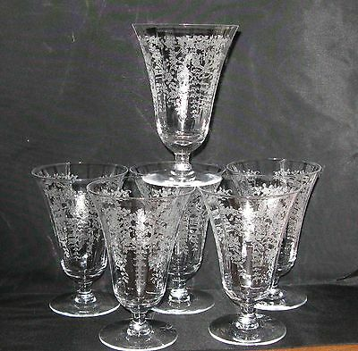 6 ~ American Elegant Crystal Brilliant Cut Etched Footed Water Glass Tumblers