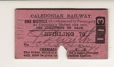 Railway ticket Caledonian Rly Bicycle Stirling - Penrith 1904