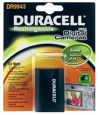 Duracell DR9943 Replacement Digital Camera Battery for Canon LP-E6 Battery New