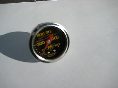 Nos/nx/zex/edelbrock/ Liquid Filled Chrome Black-Faced Nitrous Gauge-New-L00K!