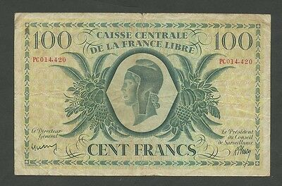 FRENCH EQUATORIAL AFRICA - 100 francs  WWII  LIBRE  P13  ( Banknotes )