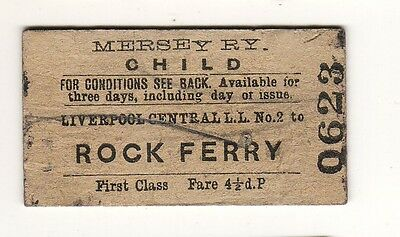 Railway ticket Mersey Rly 1st class  Liverpool Central LL No2 - Rock Ferry