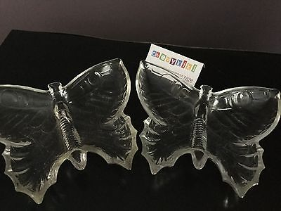 """Vintage Clear Glass Butterfly Trinket Candy Nut Dish Bowl 8"""" Set Of 2"""