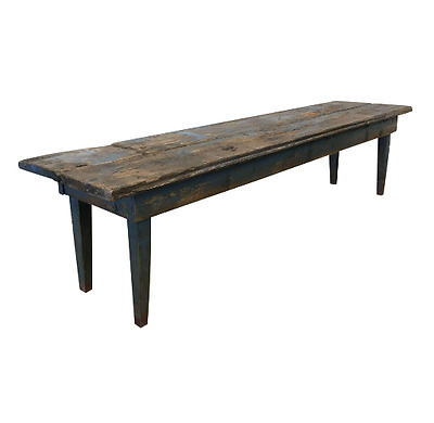 French Antique Painted Rustic Long Bench Hall Bench Antique Furniture