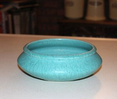 Beautiful Roseville Art Pottery - Tourmaline, mottled Turquoise low Bowl