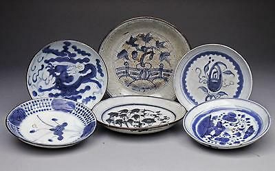 6X antique CHINESE PORCELAIN 19th century BLUE & WHITE dishes FUJIAN SWATOW