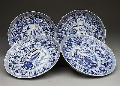 4X antique CHINESE PORCELAIN blue & white moulded dishes c1900 Kangxi marks