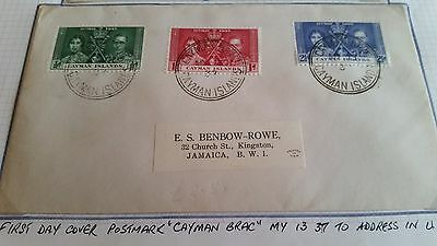 Cayman Islands 1937 Sg 112-114 Coronation First Day Cover