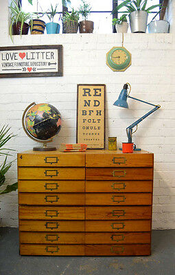 Vintage Industrial Wooden Bank of Drawers Cabinet Chest of 16 Drawers