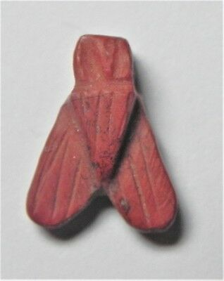 Zurqieh -Af1560- Ancient Egypt, New Kingdom. Red Jasper Fly Amulet. 1400 B.c