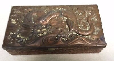 Vtg Antique Copper Plated Metal and Wood Dragon Trinket Box Oriental Chinese