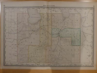 1883 Rand McNally map of Manitoba, Canada, original from atlas