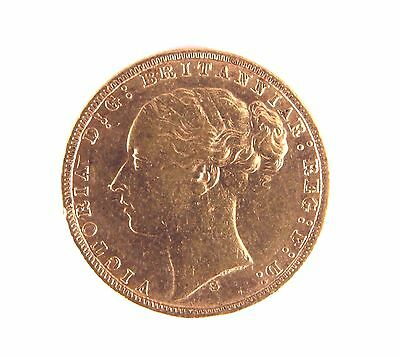 1872 Young Head Queen Victoria Full Gold Sovereign Sydney Mint G&D