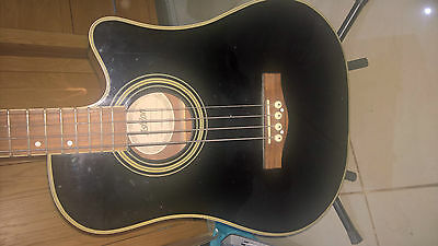 Ashton Acoustic Electric Bass Guitar with stand base