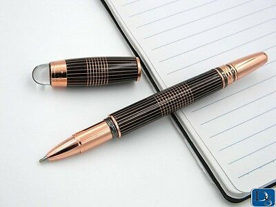 Luxury Black And Gold Line Rose Gold Rollerball Pen