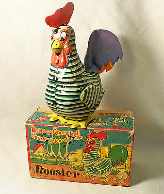 VINTAGE BATTERY OPERATED CROWING ROOSTER MIKUNI JAPAN 1950s WORKS GREAT W/ BOX