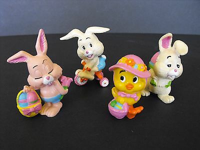 Lot of 4 EASTER Berrie Vtg Bunny Rabbits Duck Figurines 1979 1980 Portugal
