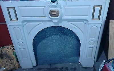 Antique Ornate Cast Iron Fireplace Mantle Surround with Marble Mantle Top
