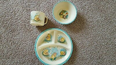 Vintage classic pooh 3 section plate, bowl, cup