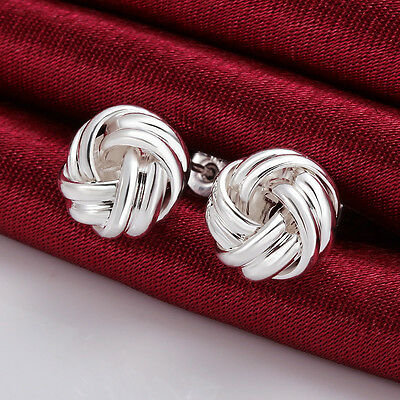 Lucky Round Knot Twist 925 Sterling Silver Plated Stud Hoop Earrings