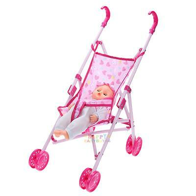 Kids Baby Girls Buggy Stroller Foldable 4 Wheeler Pushchair Toy Dolls Pram Gifts