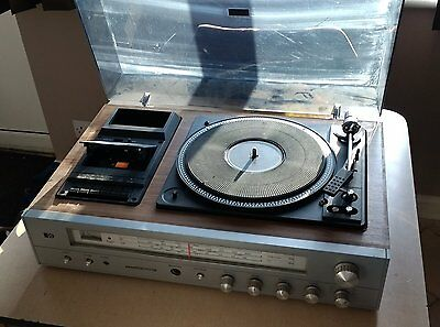 Retro Pye 1602/1 stereo music centre; radio, turntable, cassette player, 1970s